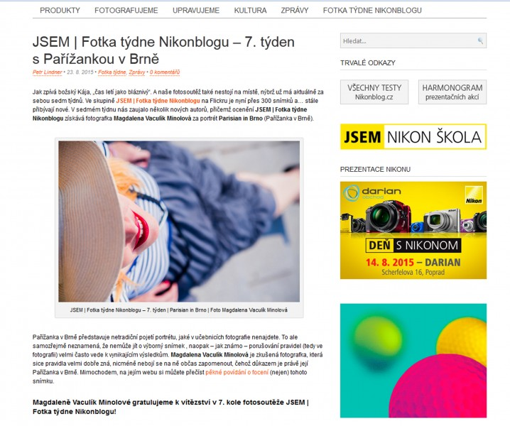 Fotka týdne na Nikonblogu Magdalena photography